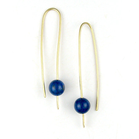 Lapis bead drop earrings