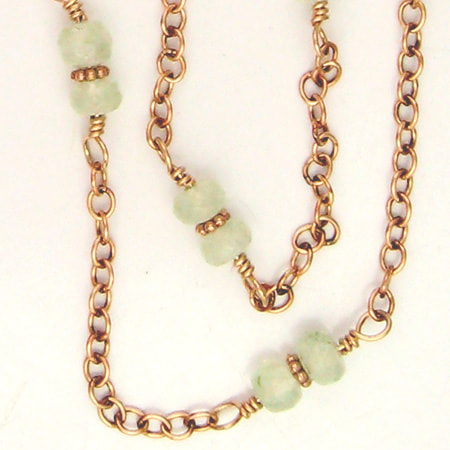Prehnite & Bronze Necklace