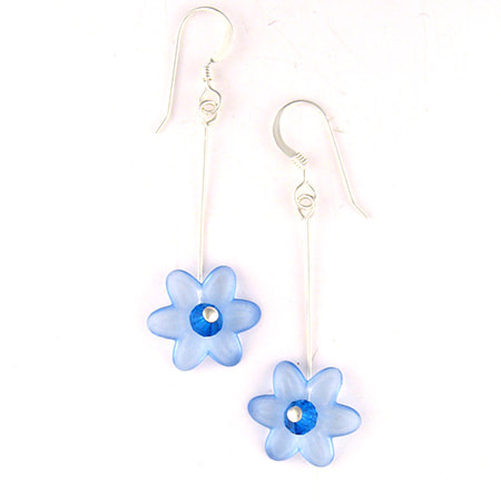 A translucent blue Lucite flower with sparkling Preciosa crystal center drops from a sterling silver ear wire. The earrings are approximately 1-1/4 inches long from the bottom of the ear wire.