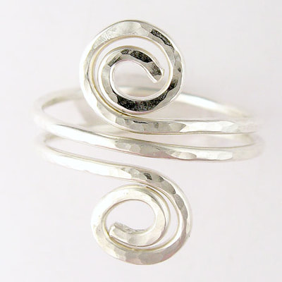 Sterling double spiral bypass ring