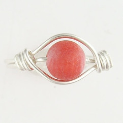 Red-dyed coral & sterling ring